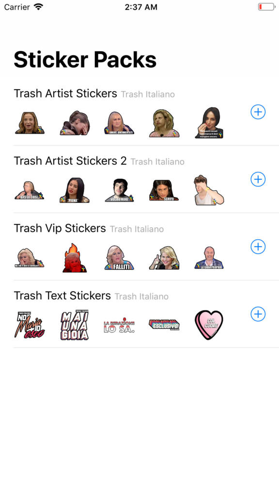 trash italiano whatsapp stickers