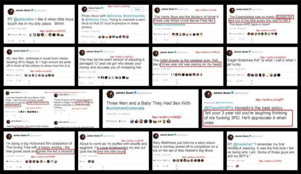 I tweet offensivi di James Gunn.