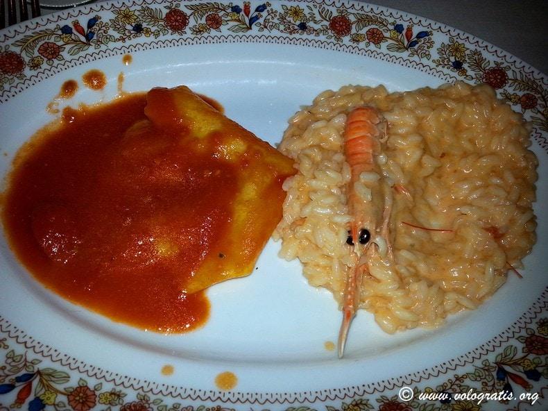 raviolone e risotto con crema di scampi il grottino all'aventino roma
