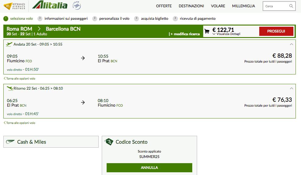 Schermata acquisto biglietti alitalia con codice sconto