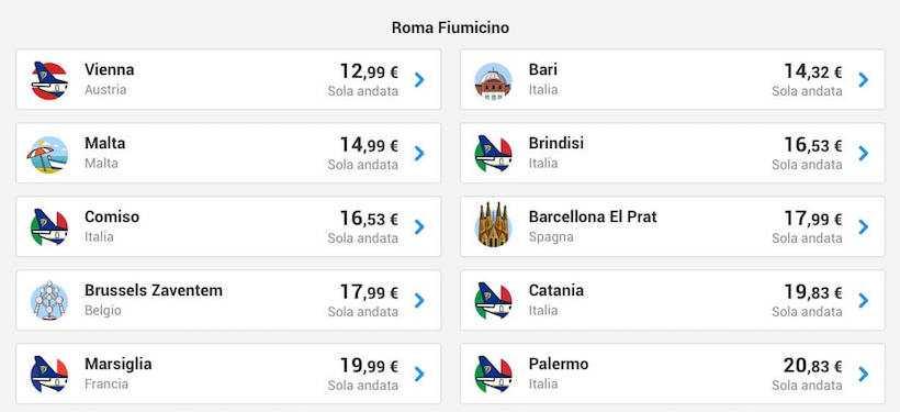 voli low cost ryanair roma fiumicino maggio 2019