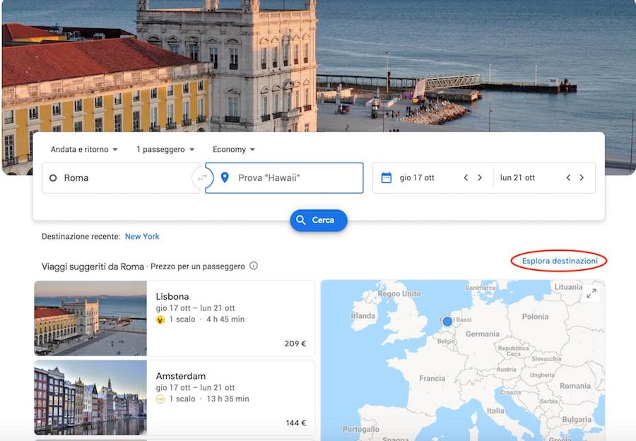 google flights esplora destinazioni
