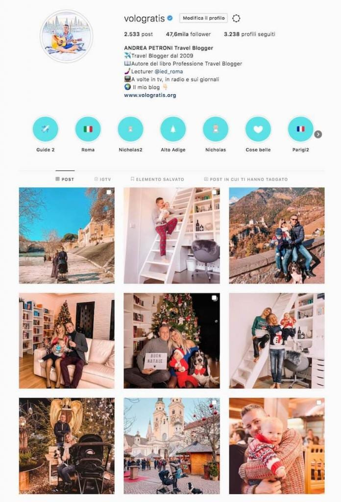 travel influencer instagram andrea petroni vologratis