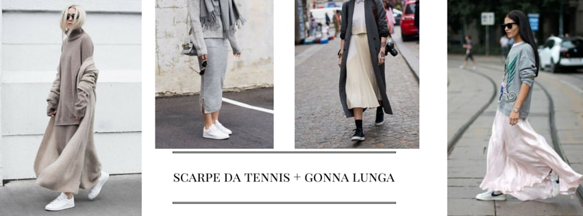 come indossare scarpe da tennis e gonna lunga idee outfit