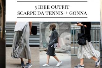 idee outfit scarpe da tennis e gonna