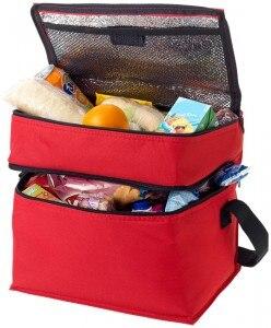Elegante Borsa termica con 2 scomparti porta pranzo ufficio lavoro mare spiaggia-Rosso-PF19549023_0